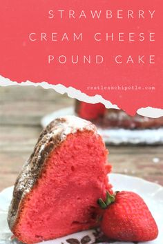 wedding cakes recipe Lusciously dense and ultra-moist strawberry pound cake recipe is made with cream cheese. Its firm enough to use in stacked wedding cakes but easy enough for every day. Pound Cake Recipes, Fudge Recipes, Frosting Recipes, Dessert Recipes, Easy Recipes, Pound Cake With Strawberries, Strawberry Cakes, Strawberries And Cream, Black Raspberries