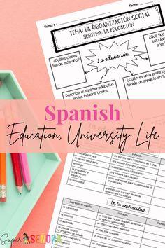 Spanish Education & University Life Vocabulary Activities