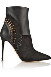 Sergio Rossi Vivienne paneled suede and leather boots