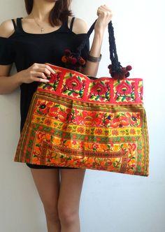 Hmong Bag Ethnic Old Vintage Style Hobo Boho Tote Thai