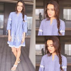 Shraddha Kapoor                                                                                                                                                                                 More Bollywood Stars, Bollywood Fashion, Bollywood Actress, Bollywood Girls, Sraddha Kapoor, Casual Dresses, Fashion Dresses, Crop Top Outfits, Long Tops
