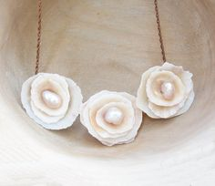 Shell and Pearl Rose Necklace  Sea Treasure by StaroftheEast, $77.00