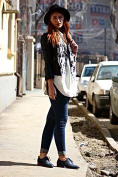 Pull jeans, H jacket, Pimkie bag and Bata Oxfords featured by Serena, Romania #batashoes