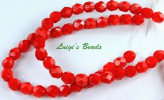 25-Opaque-Red-Czech-Firepolished-Faceted-Round-Glass-Beads-6mm