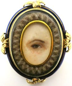 Rare Georgian Eye Pendant In Gold, Hair & Enamel