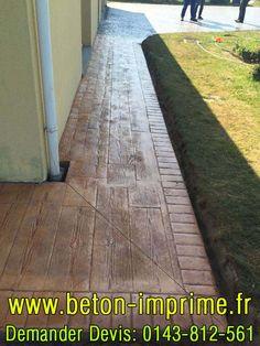 Beton Imprimé Imitation Bois #beton #bois #imprime Sidewalk, Patio, Woodwind Instrument, Walkways, Pavement, Curb Appeal