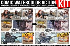 Comic Watercolor Action Kit is a tool for creating watercolor comics in photoshop, using only your photos, provided text bubbles and other tools Text Bubble, How To Make Comics, Comic Page, Storyboard, Things To Come, Photoshop, Clip Art, Action, Watercolor