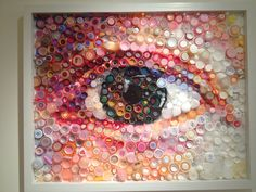 Keeping an Eye on Plastic Pollution Plastic art by Mary Ellen Crote. - Keeping an Eye on Plastic Pollution Plastic art by Mary Ellen Croteau. Plastic Bottle Caps, Bottle Cap Crafts, Plastic Art, Recycled Art Projects, Recycled Crafts, Diy And Crafts, Plastik Recycling, Bottle Top Art, Trash Art