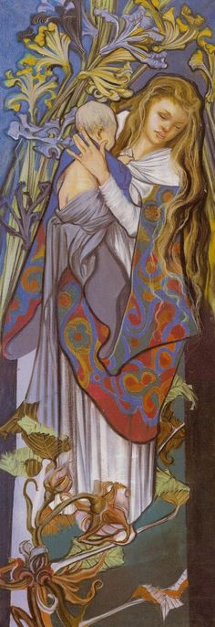 Madonna with Child by Stanisław Wyspiański (Polish), design for a stained glass window at the Lviv Cathedral, pastel on paper, genre: Art Nouveau, 1904 Madonna, Modern Art, Fine Art, Painting, Art, Madonna And Child, Christian Art, Pre Raphaelite Art, Sacred Art