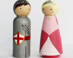 The Princess and the Knight -- Hand-painted Peg Dolls