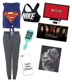 """""""Watching netflix with no make up on"""" by kathyg285 ❤ liked on Polyvore featuring NIKE and Topshop"""