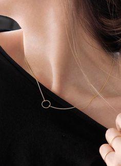 Superfine little ring sliver necklace 925 silver