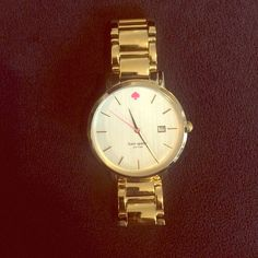 Kate Spade gold watch w/neon pink! Kate Spade gold watch with neon pink minute hand. Barely worn. Live Colorfully!                                       Love the watch?  make an offer I can't refuse! (or will negotiate with you)  kate spade Accessories Watches