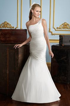 One Shoulder Mermaid Wedding Gown with Exquisite Appliqués  $242.99