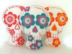 Mexican Sugar Skull Pillow Felt Decoration. $30.00, via Etsy.