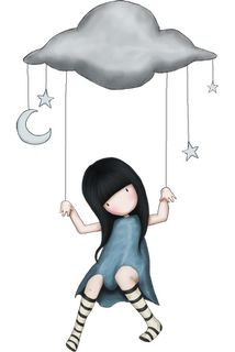 """In the Clouds"" Gorjuss Art Illustrations, Illustration Art, Kawaii, Cute Images, Cute Art, Paper Dolls, Decoupage, Little Girls, Whimsical"
