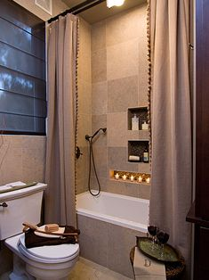 Small Earthy Bath Remodel. Love that shower