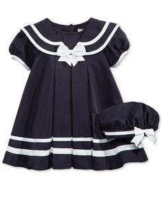 Rare Editions presents sailor-inspired cuteness with this charming cap-sleeve dress and matching hat.   Dress, diaper cover and hat: polyester   Machine washable   Imported   Button closures at back  