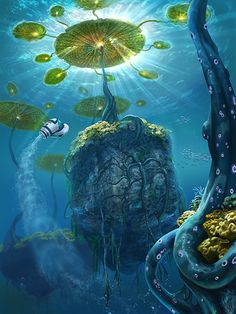 The Lillypad Islands is an early in-development biome. It seems to be made of large boulders supported by the buoyancy of giant lilypads floating on the surface. Add a photo to this gallery Subnautica Concept Art, Environment Concept Art, Environment Design, Fantasy Places, Fantasy World, Alien Planet, Alien Worlds, Video Game Art, Fantasy Creatures