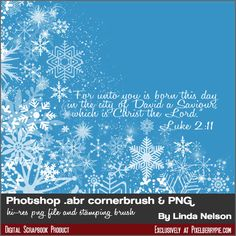 Free Download: Photoshop Corner Brush & PNG Swirling Snow and Scripture for Christmas