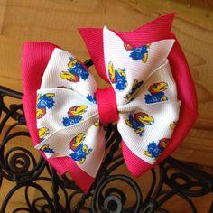Hot pink KU Jayhawks hair bow by MegansHairCandy on Etsy, $5.50
