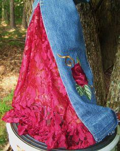 Rosas de Jeans bordados y encajes OOAK la Joplin