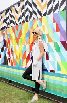 Summer wardrobe capsule ideas: white tank, lounge pants, long grey vest, sandals