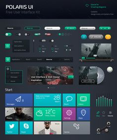 Polaris UI Free is a set of beautiful free UI components, which includes Edit Boxes, Check Boxes, Radio Buttons, Page Navigation, Menu, Buttons, etc. You can use this UI Kit in any of your projects, and even learn with it, by examining each component to see how it is put together.
