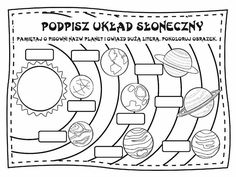 Układ Słoneczny Solar System Worksheets, Solar System Activities, Solar System Projects, Science Activities For Kids, Science Projects, 5th Grade Science, Social Science, Homeschool Kindergarten, Teaching Math