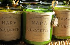 Perfect summer housewarming present!  Wine scented candles.