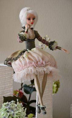 Купить Кукла Даша - оливковый, интерьерная игрушка, интерьерная кукла, Будуарная кукла, авторская кукла