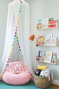 kid reading nook with book ledges, girl bedroom decor with canopy and reading corner, playroom decor for girls bedroom ideas toddler Toddler's Whimsical Bedroom Makeover Playroom Design, Playroom Decor, Kids Room Design, Diy Girl Room Decor, Decor Room, Room Decorations, Colorful Playroom, Kids Decor, Colorful Girls Room