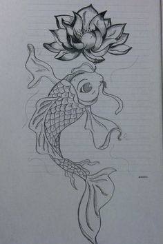 Coy fish drawing for the coworker as a tattoo
