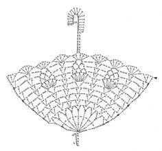 傘のモチーフ(編み図付き、かさ、アンブレラ、いちご、イチゴ、苺) : Crochet a little