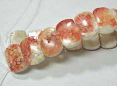 "Orange & White Spiny Oyster Shell 15x20mm 2-Strand Rectangle Beads 8"" #5"