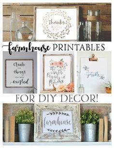 FREE Farmhouse Printables for DIY Decor