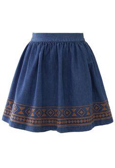 Aztec Stitch Denim Skater Skirt Navy