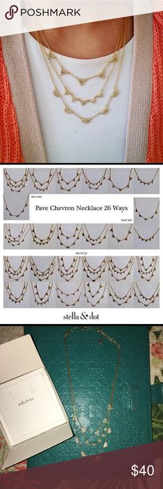 Stella & dot gold pave chevron layering necklace Like new condition. Just cleaning out my closet! I love this necklace but I just don't wear it as much as I thought I would. It can literally be worn 26 ways! Dainty and delicate and so versatile! Stella & Dot Jewelry Necklaces