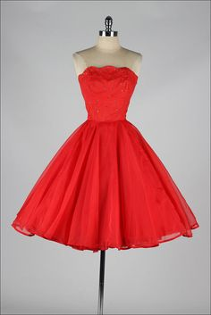 vintage 1950s dress . EMMA DOMB . red by millstreetvintage on Etsy