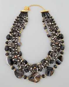 Jose & Maria Barrera Four-Strand Black Agate Bead Necklace on shopstyle.com
