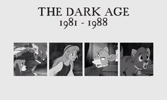 Disney's Dark Age 1981-1988 ... The Fox and the Hound, The Black Cauldron, The Great Mouse Detective, Oliver & Company... I happen to quite like this era. Some of the strongest animation I've seen. And the mixed techniques totally overshadow weak plot lines.