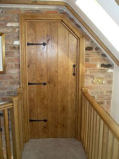 Made to measure bespoke oak internal door, pre finished and handcrafted by Heritage with matching stair rails. Cottage Door, Cottage In The Woods, Cottage Style, Wood Cottage, Cottage Ideas, Solid Oak Internal Doors, Solid Oak Doors, Entrance Doors, Barn Doors