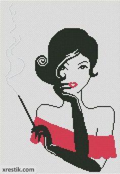 Devushka-s-sigaroy----3300 Схема для вышивки scheme for cross stitch