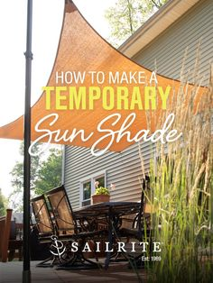 Add shade to your patio or backyard when you create and install a temporary sun shade. Discover how to keep your friends and family cool and comfortable under this adjustable shade structure when you sew along with this free video tutorial. Start this fun, practical DIY sewing project when you shop shade sail fabrics, hardware and supplies right here at Sailrite! Diy Patio, Backyard Patio, Backyard Landscaping, Backyard Projects, Outdoor Projects, Patio Sun Shades, Smart Home Design, Outdoor Shade, Small Backyard Pools