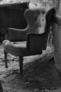 Abandoned chair in Caldwell School, Youngstown, Ohio (by Mike Adams)