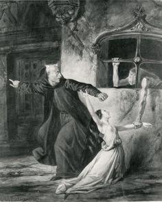 Louis Boulanger's Illustration of Frollo, Esmeralda and Sachette