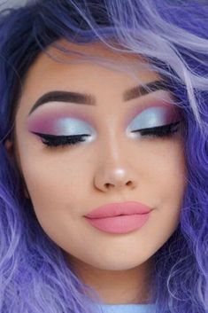 How To Get A Soft Glam Makeup Look Awesome blue and purple makeup lo. - How To Get A Soft Glam Makeup Look Awesome blue and purple makeup look - Purple Makeup Looks, Pink Eye Makeup, Glam Makeup Look, Makeup Eye Looks, Eye Makeup Steps, Colorful Eye Makeup, Hair Makeup, Pastel Makeup, Pastel Eyeshadow