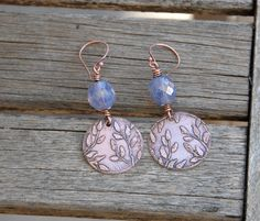 Earrings Etched Copper Disc and Lavender Glass by TopaTopaDesigns