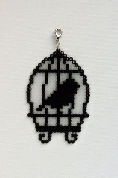 Unique birdcage, Hama mini beads, pendant, charm, magnet. Bird in cage. on Etsy, $21.37