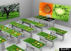 """Future of Knowledge ? ExoPC, a French-Canadian startup, has signed a deal with the Panama government to build a grade school physics classroom equipped with 20 touch screen desks, or """"EXOdesks."""" At the front, the teacher will be set up with an interactive multi-touch drawing board. Each of these interactive pieces of furniture will have stored memory for all books, textbooks, notebooks, and other supplies, accessible from home at any time by connecting to the cloud."""